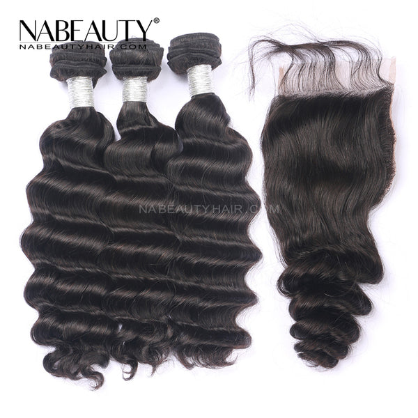 HD Closure Wig | HD 6*6 part size closure with 3 bundles virgin human hair 250% Density