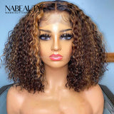 Highlight Front Lace Human Hair Wigs for Women Ombre Honey Blonde Color Human Hair Wig Curly bob Pre Plucked Vrigin Hair