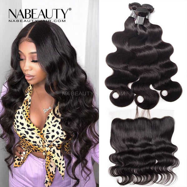 Frontal Wig | 13x4 Frontal With 3 Bundles Body Wave Nabeauty Virgin Hair 300%Density