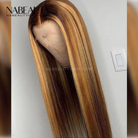 Highlight Mixed Color Piano Blonde T part Lace Front Wig Silky Straight Style