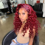 Burgundy 99J Lace Front Human Hair Wigs With Baby Hair Loose body wave Pre Plucked Hairline Brazilian Vrigin Wigs