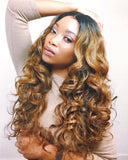 Ombre Loose Deep Wave Front Lace Wig Color Golden Brown With Dark Roots 1b30 PrePlucked Baby Hair Brazilian Virgin Hair
