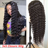 HD Lace Human Hair Wigs Deep Wave 5x5 Closure Wigs Pre Plucked With Baby Hair