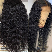 Water Wave Hair 5x5 HD Lace Closure Wig Pre Plucked Natural Hairline Affordable wigs with baby hair