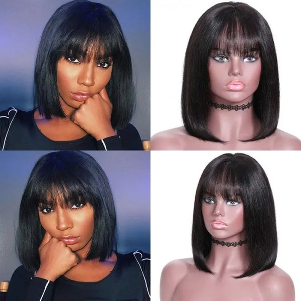 Short Bob Wigs with Bangs Brazilian Hunman Straight Hair Wigs For Black Women Vrigin Short Bob Human Hair Wigs