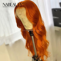Ginger Orange Body Wave T Part Lace Front Human Hair Wig Pre Plucked Brazilian Vrigin Hair