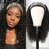 Headband Wig Natural Curly Human Hair Wig Scarf Wig Brazilian Hair Wigs Deep Curly Wig Glueless Wig Vrigin Hair