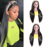 Straight Human Hair Brazilian Headband Wigs For Women Full Machine Made Wig No Glue No Gel