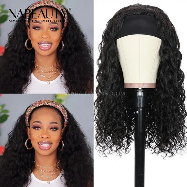 Headband Scarf Wig Water Wave Human Hair Wig No plucking wigs for womenNo Glue & No Sew In More hairs