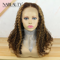 Highlight Mix Color Piano Blonde Curly 13*6 T part Lace Front Human Hair Wigs Vrigin Hair Lace Wigs