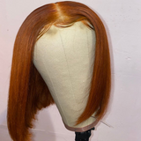 Ginger Orange BOB Lace Front Human Hair Wig Pre Plucked Brazilian Vrigin Hair