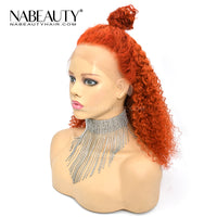 Ginger Orange  Deep Curly T part Lace Human Hair Wig Pre Plucked Brazilian Vrigin Hair