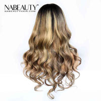 Ombre Blonde Wig With Natural  Wave 150% Density Virgin Human Hair
