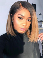 NEW* Honey Blonde 1b 27 Ombre Wigs  Glueless Front Lace Bob Wigs Straight Human Hair Wigs