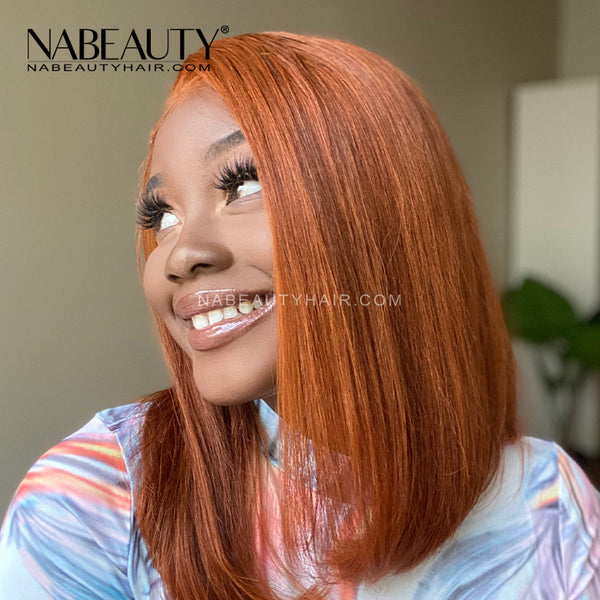 Ginger Orange BOB Front Lace Human Hair Wig Pre Plucked Brazilian Vrigin Hair
