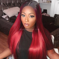 1B99J Front Lace Human Hair Wigs Straight  Brazilian Vrigin Hair 1B-Burgundy Pre Plucked Colored Human Hair Wigs