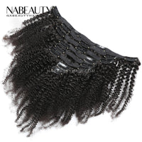 Clips Hair In Brazilian Human Hair Extensions 4B 4C Natural Black Color Full Head 8Pcs/Set 120G Vrigin Hair