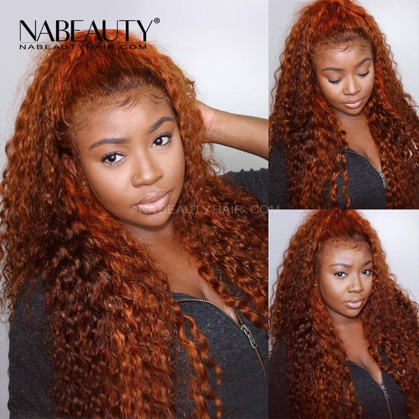Ginger Orange  Deep Curly Lace Front Human Hair Wig Pre Plucked Brazilian Vrigin Hair