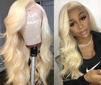 Blonde Wig #613 Front Lace Virgin Hair Blonde Hair Color  Wigs 150 % Density