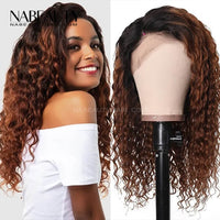 Natural Curly Ombre Color Brazilian Vrigin Hair Lace Wig Lace Front Human Hair Wigs Pre Plucked Bleached Knots