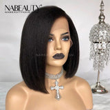 Yaki Bob Wigs  Front Lace  Human Hair Wig  Pre Plucked Hairline With Baby Hair