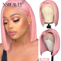 Pink Straight Bob Front Lace  Wigs Colored Human Hair Wigs Pre Plucked 613 Blonde Short Blunt Cut Bob Wig