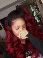 Body Wave 1b/99J Colored Front Lace Human Hair Wigs Ombre Burgundy Pre Plucked Brazilian Hair