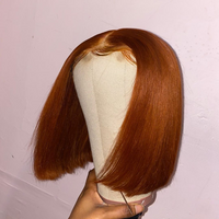 Ginger Orange BOB T Part Lace Front Human Hair Wig Pre Plucked Brazilian Vrigin Hair