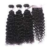 Closure Wig | Deep Curly HD Lace Closure 4x4 With 3 Bundles Nabeauty Virgin Hair