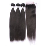 Closure Wig | Straight HD Lace Closure 4x4 With 3 Bundles Nabeauty Virgin Hair