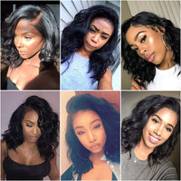 Wavy Bob Front Lace Human Hair Wigs Natural Wave Middle Part Lace Front Wigs Pre Plucked Hairline