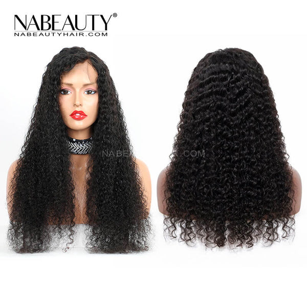HD Full Lace Human Hair Wigs Preplucked Bleached Knots Brazilian Deep curly Wigs Vrigin Hair