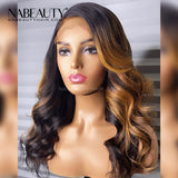 Honey Blonde Highlight Wig Body Wave 1b 27 Ombre Human Hair Wig Bleached Knots Glueless Lace front Wig