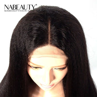 Kinky Straight Wig Front Lace Human Hair Wigs Brazilian 360 Lace Frontal Wig 150 180 250 Density Human Hair Wig