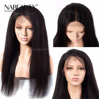 Full Lace Human Hair Wigs Kinky Straight Pre Plucked Hairline Brazilian Glueless