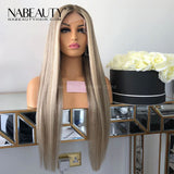 Ash blonde Highlight Ombre Front Lace Human Hair Wigs 150% Denisty  Brazilian Pre Plucked Wig