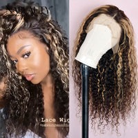 Highlight Piano Blonde Water wave Front Lace Wig Virgin Hair 250% Density  Natural Hairline