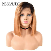 NEW Honey Blonde 1b 27 Ombre Wigs Glueless Front Lace Bob Wigs Straight Human Hair Wigs