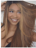 Highlight Ombre Color Front Lace Human Hair Wigs Baby Hair Straight Brazilian Virgin Hair
