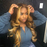 Honey Blonde Highlight Wig Body Wave 1b 27 Ombre Human Hair Wig Bleached Knots Glueless Front Lace Wig