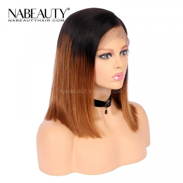 Ombre Brown 1b/30 Lace Front Human Hair Wig Straight Bob Pre Plucked Hair Line Brazilian Hair Bleached Knots