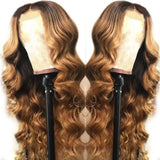 Honey Blonde 1B/27 Loose Wave Front Lace Human Hair Wigs With Baby Hair Pre Plucked Bleach Knots
