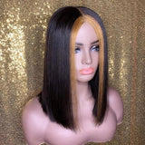 Honey Blonde Highlight Straight Bob Front Lace Human Hair Wigs Ombre Colored Prepluck With baby hair