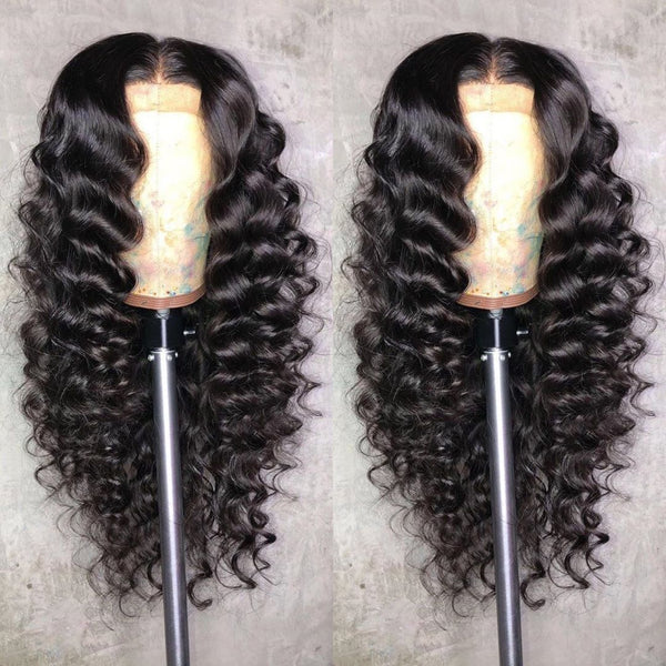Loose wave HD Full Lace Fake Scalp Wigs PrePlucked with Baby HairGlueless Human Hair Wigs Invisible Bleached Knots