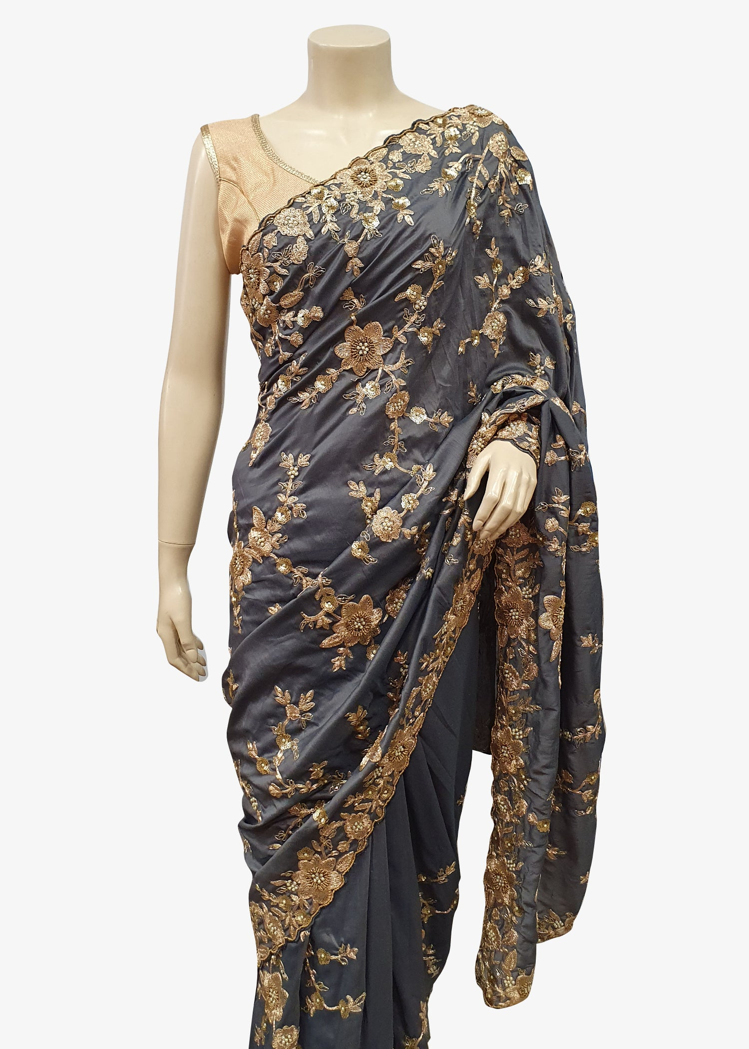 Grey Soft Silk All over Embroidered Saree