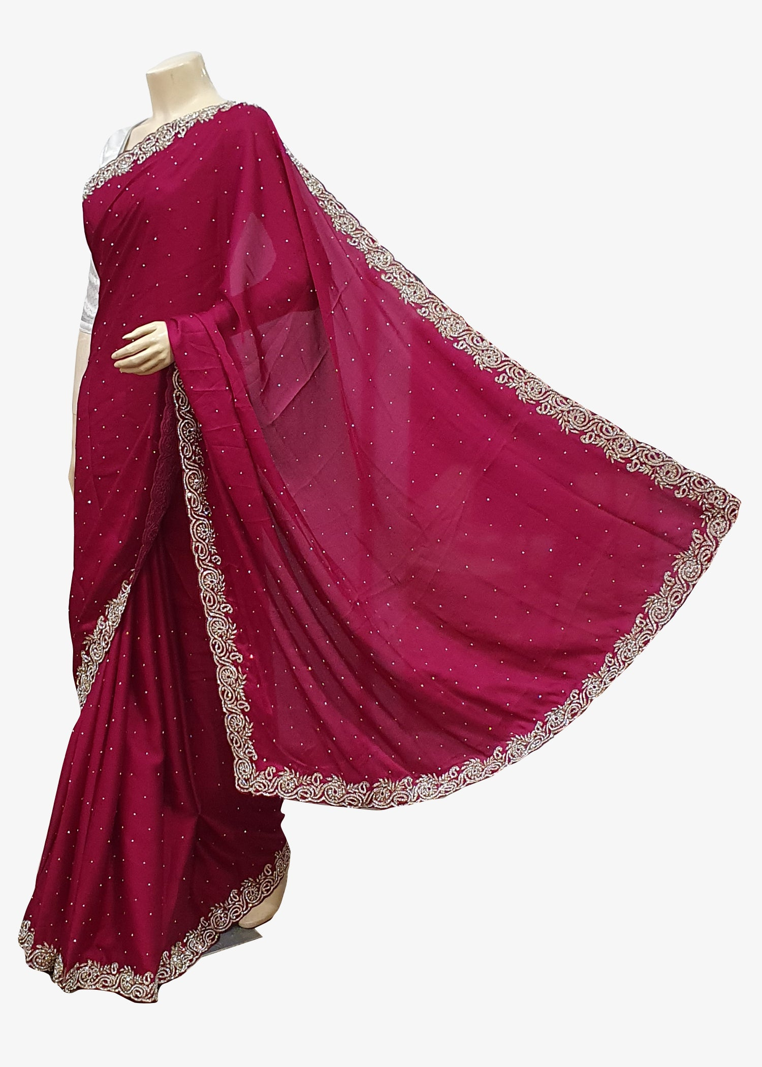 Magenta Soft Silk Embroidered Saree