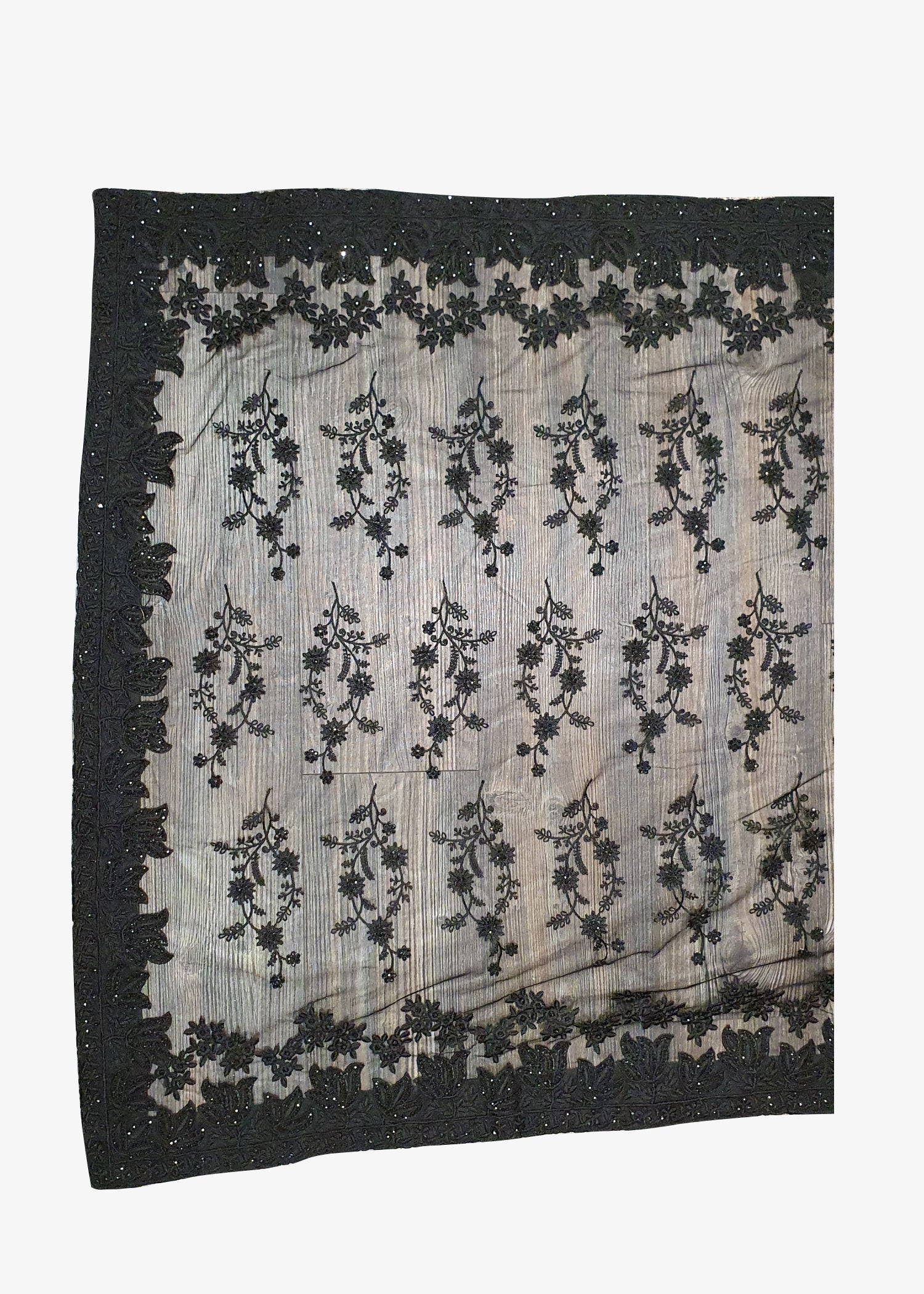 Black Net Embroidered Saree