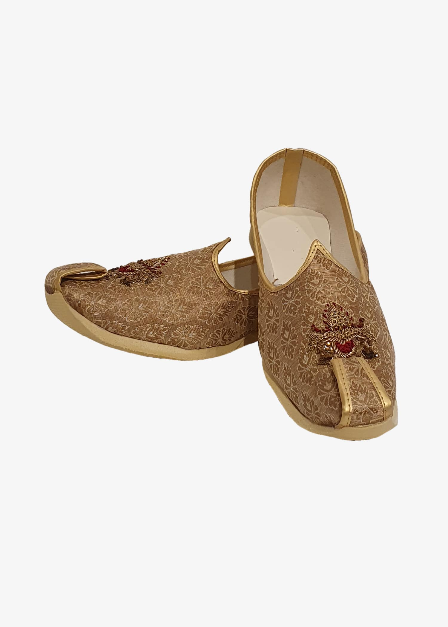 Antique Gold Brocade Embroidered Mens Mojdi