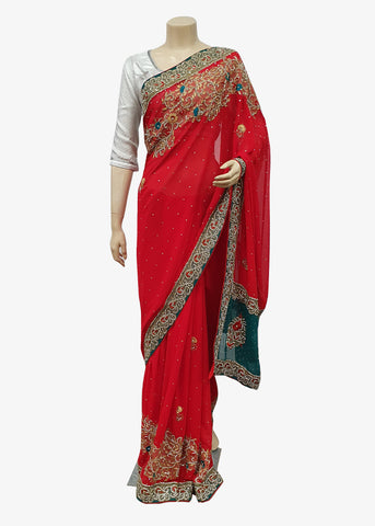 Red-Teal Georgette Embroidered Saree With Unstitched Blouse