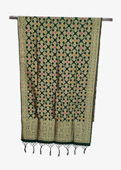 Dark Green Brocade Silk Dupatta